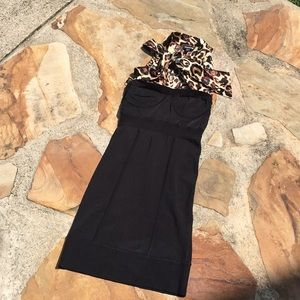 Bebe dress knit silk bow black and leopard S